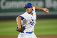 Kansas City Royals relief pitcher Jake Brentz throws against the Cleveland Indians during the seventh inning of a baseball game Tuesday, May 4, 2021, in Kansas City, Mo. (AP Photo/Reed Hoffmann)