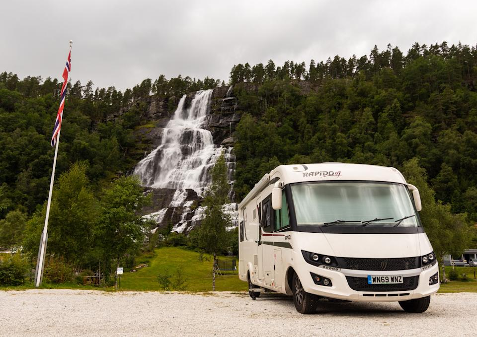 Their motorhome has all the mod-cons including a toilet and separate bedroom. (@champers_and_campers / Caters)