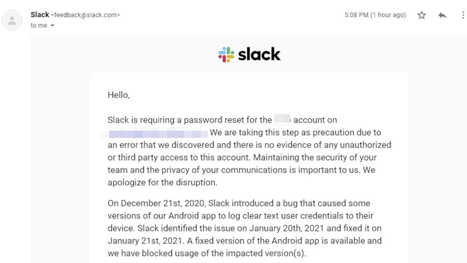 Slack emails some users to reset password, wipe app data