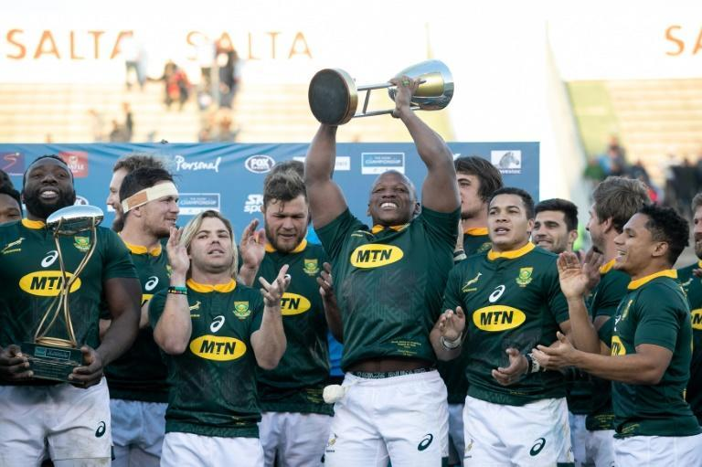 South Africa's players celebrate winning the 2019 Rugby Championship after beating Argentina 46-13 in Salta last year