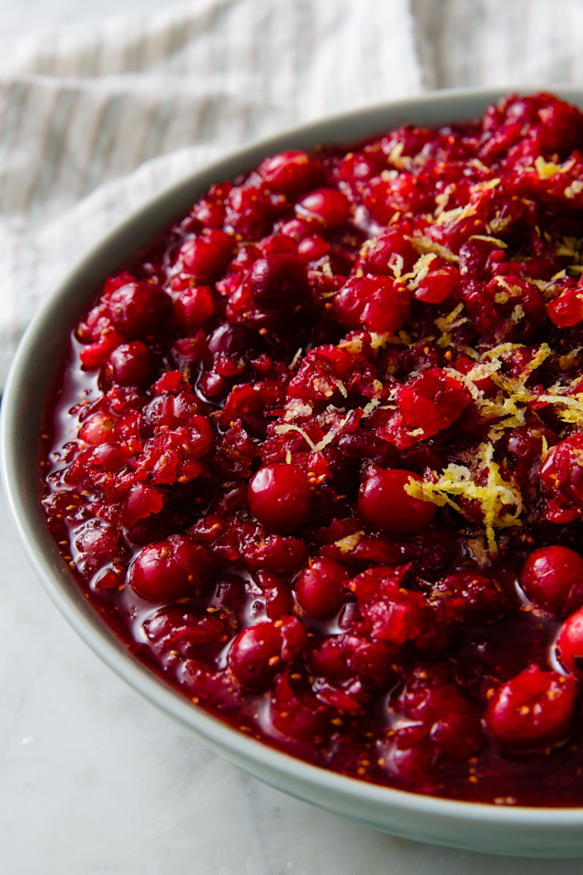 "<p>A mix of orange and lemon zest makes this relish fresh and tangy. </p><p>Get the recipe from <a href=""https://www.delish.com/cooking/recipe-ideas/a22553444/homemade-fresh-cranberry-relish-recipe/"" rel=""nofollow noopener"" target=""_blank"" data-ylk=""slk:Delish"" class=""link rapid-noclick-resp"">Delish</a>.</p>"