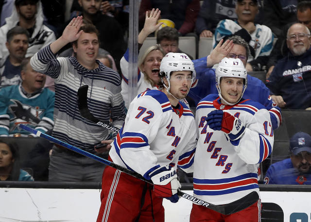 New York Rangers' Jesper Fast, right, celebrates with Filip Chytil (72) after scoring against the San Jose Sharks in the second period of an NHL hockey game Thursday, Dec. 12, 2019, in San Jose, Calif. (AP Photo/Ben Margot)