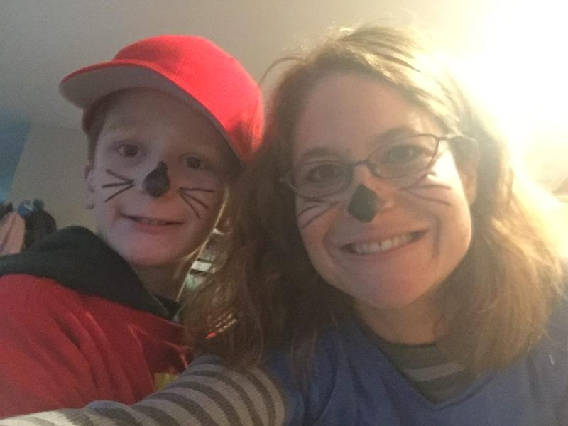 Nate and his mom dressed as chipmunks.