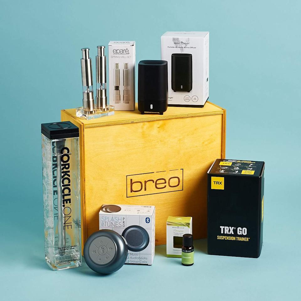 """<h3><strong><h3><h2>Breo</h2></h3></strong></h3><br><strong>Elevated Essentials Subscription</strong><br>If your dad's hobbies are tough to define, go with a subscription that covers a range of categories with unique product picks in lifestyle, tech, home, fitness, and more. Each hand-packed wooden box comes stocked with five to eight premium goods curated to fit the specific season, that will either ship as a one-time gift purchase or a recurring three-month shipment.<br><br><em>Shop <strong><a href=""""https://www.breobox.com/collections/subscription-service/products/seasonal"""" rel=""""nofollow noopener"""" target=""""_blank"""" data-ylk=""""slk:Breo"""" class=""""link rapid-noclick-resp"""">Breo</a></strong></em><br><br><strong>Breo</strong> box seasonal (new box every 3 months), $, available at <a href=""""https://go.skimresources.com/?id=30283X879131&url=https%3A%2F%2Fwww.breobox.com%2Fcollections%2Fsubscription-service%2Fproducts%2Fseasonal"""" rel=""""nofollow noopener"""" target=""""_blank"""" data-ylk=""""slk:Breo"""" class=""""link rapid-noclick-resp"""">Breo</a>"""