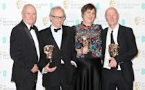 <p>L-R Dave Johns, Ken Loach, Rebecca O'Brien and Paul Laverty (Credit: Getty Images) </p>