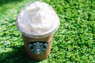 """<p>Ice, coffee, milk, and sweetener work together to make this at-home version of the beloved drink. Top it off with whipped cream and the syrup of your choice, and enjoy!</p> <p><strong>Original Starbucks Food:</strong> <a href=""""https://www.starbucks.com/menu/product/483/iced?parent=%2Fdrinks%2Ffrappuccino-blended-beverages%2Fcoffee-frappuccino"""" class=""""link rapid-noclick-resp"""" rel=""""nofollow noopener"""" target=""""_blank"""" data-ylk=""""slk:Frappuccino"""">Frappuccino</a></p> <p><strong>Homemade Version:</strong> <a href=""""https://www.popsugar.com/food/starbucks-frappuccino-recipe-47425845"""" class=""""link rapid-noclick-resp"""" rel=""""nofollow noopener"""" target=""""_blank"""" data-ylk=""""slk:Frappuccino"""">Frappuccino</a></p>"""