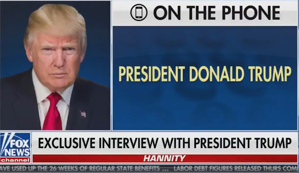 A screen grab from Donald Trump's interview with Fox News on Thursday night (Screengrab/Fox News)