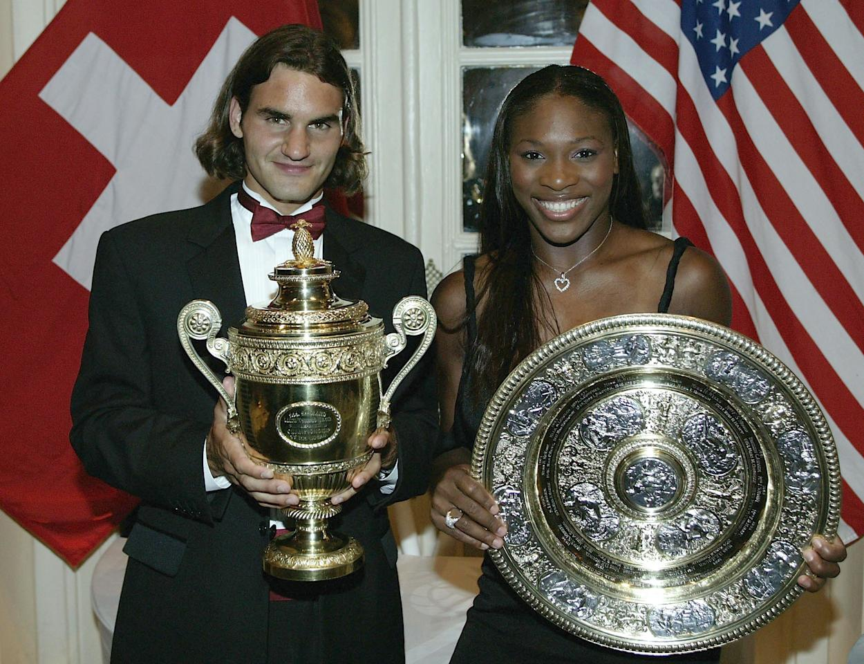LONDON - JULY 6:  (FILE PHOTO) Wimbledon Champions Roger Federer of Switzerland and Serena Williams of the U.S. pose for photographs prior to attending the Wimbledon Ball at the Savoy Hotel on July 6, 2003 in London.  (Photo by Alex Livesey/Getty Images)  Celebrating 125 Years Of Wimbledon  Please refer to the following profile on Getty Images Archival for further imagery.  https://ec.yimg.com/ec?url=http%3a%2f%2fwww.gettyimages.co.uk%2fSearch%2fSearch.aspx%3fEventId%3d115973863%26amp%3bEditorialProduct%3dArchival%0aFashions&t=1493293824&sig=N54t4ap8JZ9xm4dexPq7Uw--~C  http://www.gettyimages.co.uk/Search/Search.aspx?EventId=115973067&EditorialProduct=Archival  For further imagery also see this lightbox http://www.gettyimages.co.uk/Account/MediaBin/LightboxDetail.aspx?Id=19295855&MediaBinUserId=3936288