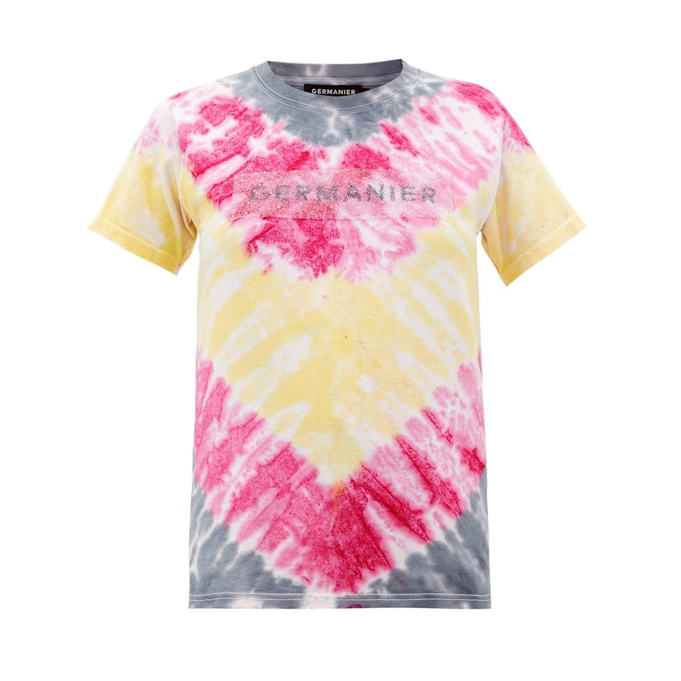"""<p>Kevin Germanier, of eponymous brand Germanier, is mastering the art of upcycling. Having been trained at Louis Vuitton, the designer understands the allure of luxe and is now doing it his way - the sustainable way. This tie-dyed t-shirt embellished with crystals is as eco-friendly as it is chic.</p> <p><strong>Buy now:</strong> Germanier shirt, $360, <a href=""""https://www.matchesfashion.com/us/products/Germanier-Recycled-crystal-logo-tie-dyed-cotton-T-shirt-1309510"""">matchesfashion.com</a>.</p>"""