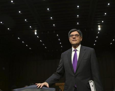 U.S. Treasury Secretary Lew arrives before the Senate Finance Committee on the U.S. government debt limit in Washington
