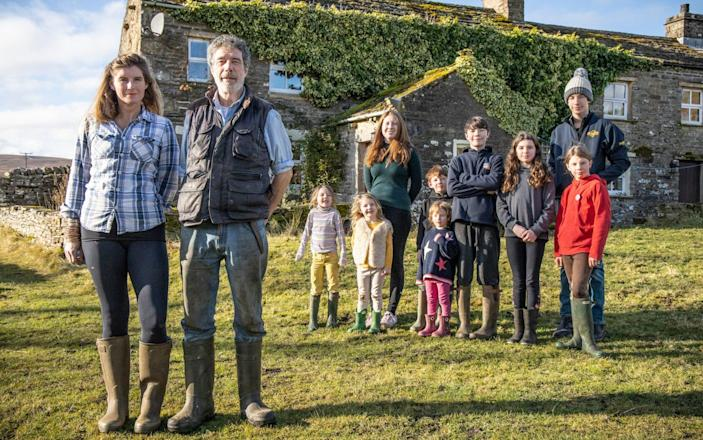 The family outside their farmhouse - Channel 5 / Television Stills