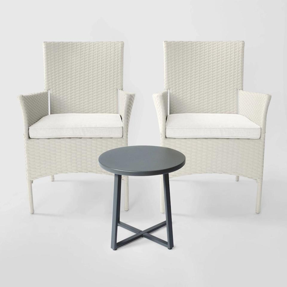 <p>We love how clean the <span>Cheriton Wicker Patio Chat Set</span> ($400) looks. </p>