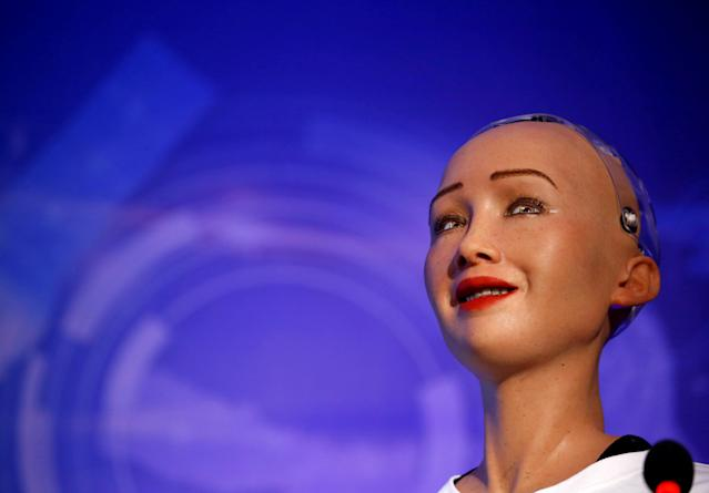 Sophia, a robot with Saudi Arabian citizenship, interacts during the innovation fair in Kathmandu, Nepal March 21, 2018. REUTERS/Navesh Chitrakar TPX IMAGES OF THE DAY