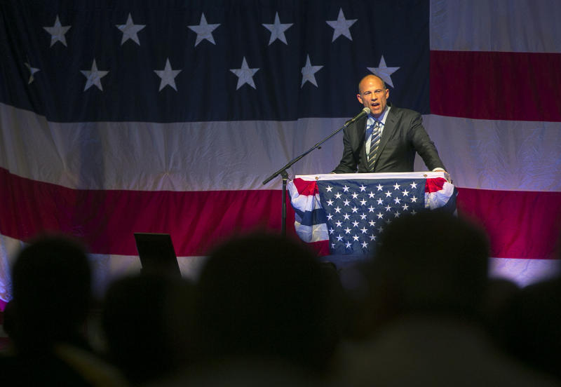 FILE - In this Aug. 10, 2018 file photo, Michael Avenatti speaks at the Iowa Democratic Wing Ding at the Surf Ballroom in Clear Lake, Iowa. Avenatti, the trash-talking lawyer who became a household name by representing a porn star and hounding Donald Trump, is now in the legal fight of his life against federal charges that could send him to prison for the rest of his life. (Chris Zoeller/Globe-Gazette via AP, File)