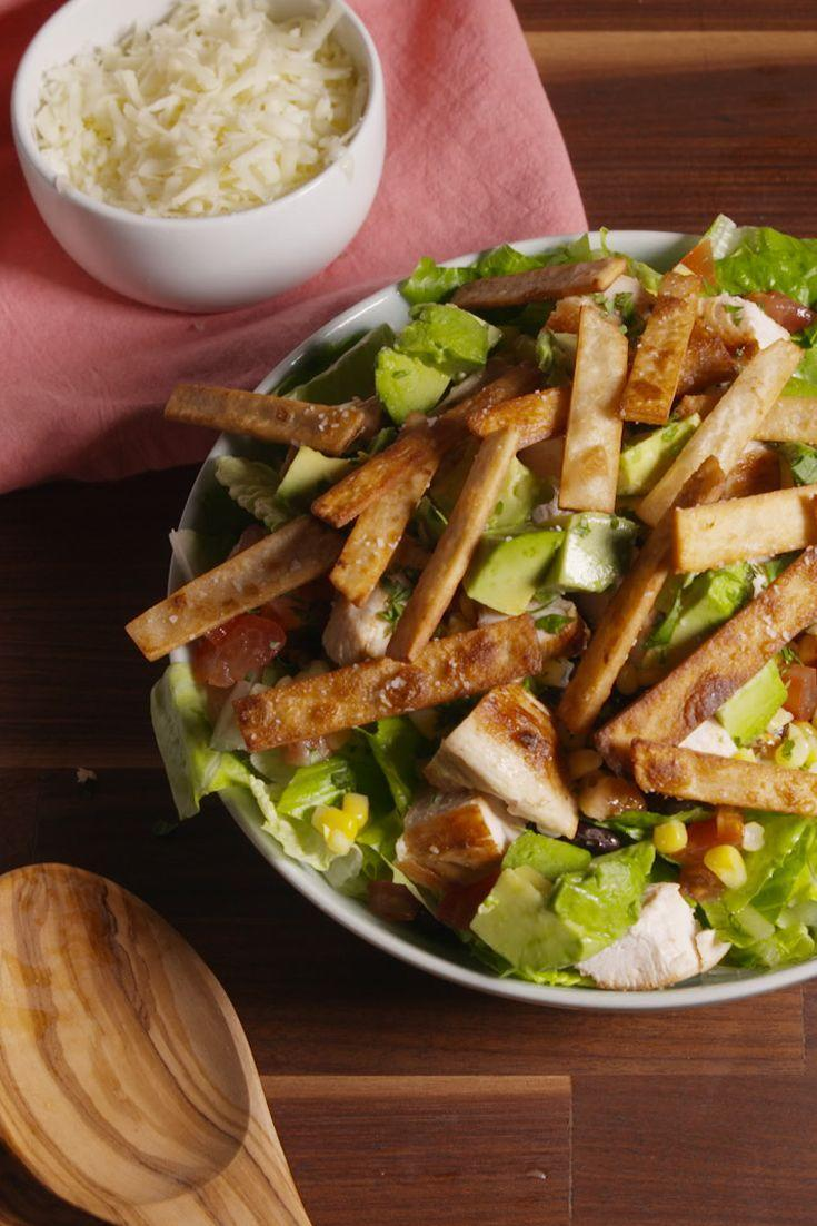 """<p>The dressing does double duty as a marinade in this healthy and hearty entree.</p><p>Get the recipe from <a href=""""/cooking/recipe-ideas/recipes/a50635/santa-fe-chicken-salad-recipe/"""" data-ylk=""""slk:Delish"""" class=""""link rapid-noclick-resp"""">Delish</a>. </p>"""