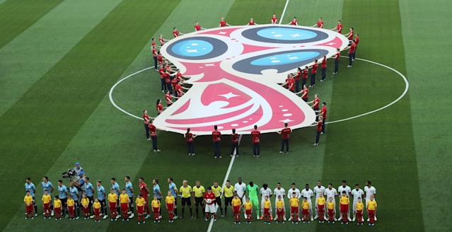Soccer Football - World Cup - Group A - Uruguay vs Saudi Arabia - Rostov Arena, Rostov-on-Don, Russia - June 20, 2018 Teams line up during the national anthems REUTERS/Marcos Brindicci