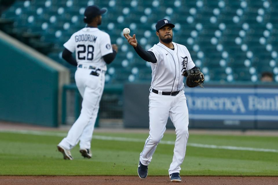 Detroit Tigers first baseman Jeimer Candelario makes a throw to first base for an out during the second inning against the Cleveland Indians at Comerica Park, Sept. 19, 2020.