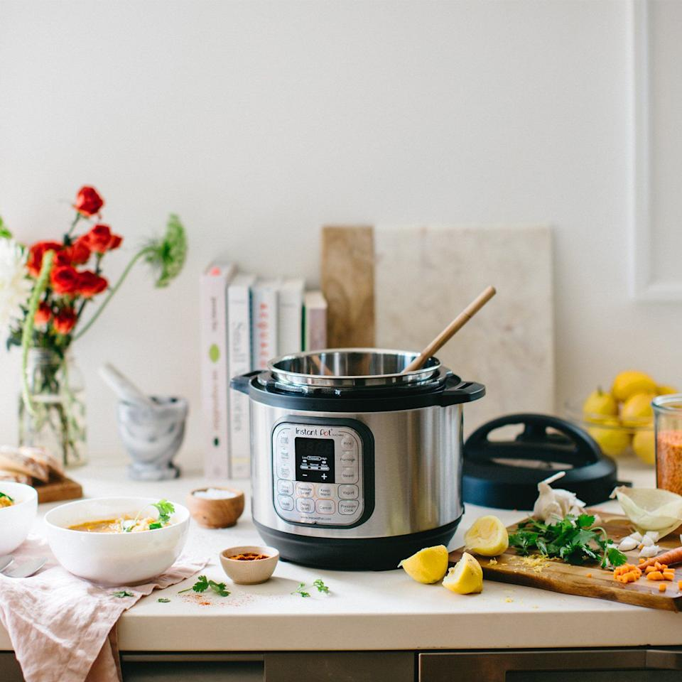 """<p><strong>Instant Pot</strong></p><p>amazon.com</p><p><strong>$50.99</strong></p><p><a href=""""http://www.amazon.com/dp/B06Y1YD5W7/?tag=syn-yahoo-20&ascsubtag=%5Bartid%7C10057.g.28209994%5Bsrc%7Cyahoo-us"""" target=""""_blank"""">BUY NOW</a></p><p>Another top-reviewed bestseller, the Instant Pot works as a pressure cooker, slow cooker, rice cooker, steamer, yogurt maker, and warmer, and you can sauté in it, too. </p>"""