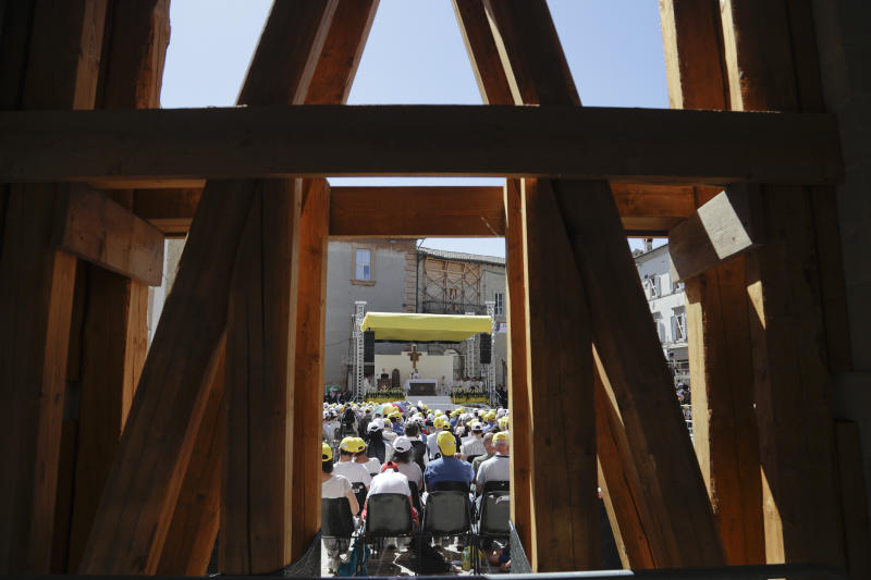 Pope Francis celebrates mass in Camerino, Italy, Sunday, June 16, 2019. The town of Camerino was heavily damaged by the 2016 earthquake that hit the central Italian Marche region. (AP Photo/Gregorio Borgia)