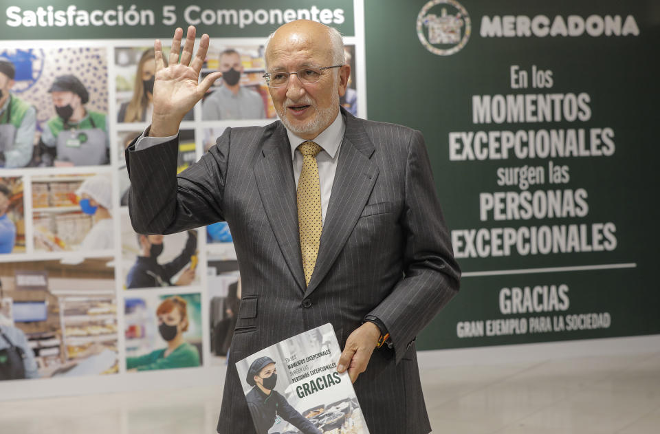 VALENCIA, VALENCIAN COMMUNITY ,SPAIN/APRIL 20: The President of Mercadona, Juan Roig, greets during a press conference, on April 20, 2021, at the Fuente del Jarro Industrial Estate, Paterna, Valencia, Valencia, (Spain). During the meeting, Roig reported on the current and future situation of Mercadona's 5 Components and communicated the company's financial data for the financial year 2020 and the forecasts for 2021. (Photo By Rober Solsona/Europa Press via Getty Images)