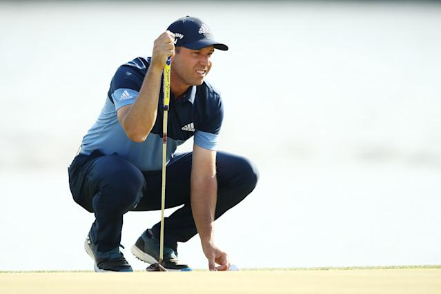 """<h1 class=""""title"""">World Golf Championships-Dell Technologies Match Play - Round One</h1> <div class=""""caption""""> AUSTIN, TEXAS - MARCH 27: Sergio Garcia of Spain lines up a putt on the 12th green in his match against Shane Lowry of Ireland during the first round of the World Golf Championships-Dell Technologies Match Play at Austin Country Club on March 27, 2019 in Austin, Texas. (Photo by Ezra Shaw/Getty Images) </div> <cite class=""""credit"""">Ezra Shaw</cite>"""