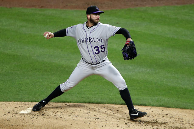 Colorado Rockies starting pitcher Chad Bettis delivers during a baseball game against the Pittsburgh Pirates in Pittsburgh, Tuesday, April 17, 2018. The Rockies won 2-0.(AP Photo/Gene J. Puskar)