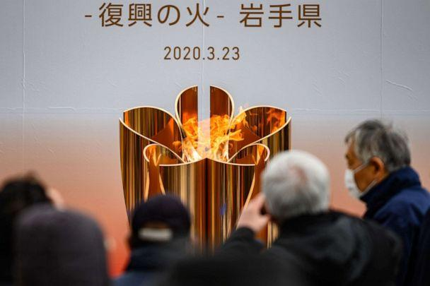 PHOTO: The Tokyo 2020 Olympic flame is displayed in the city of Ofunato in Japan's Iwate prefecture on March 23, 2020. (Philip Fong/AFP via Getty Images)