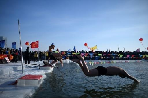 Sub-zero swimming and frozen palaces as Chinese ice festival opens