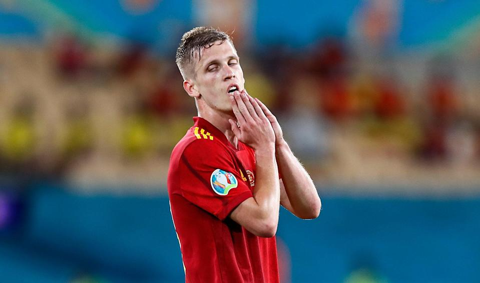 Dani Olmo reacts to a missed chance (AP)