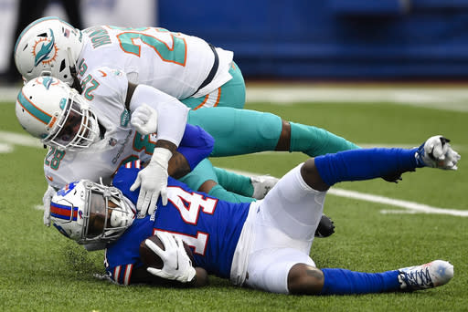 Buffalo Bills wide receiver Stefon Diggs (14) is tackled by Miami Dolphins strong safety Bobby McCain (28) in the first half of an NFL football game, Sunday, Jan. 3, 2021, in Orchard Park, N.Y. (AP Photo/Adrian Kraus)
