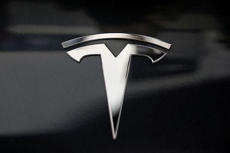 FILE PHOTO: A Tesla logo is seen in Los Angeles