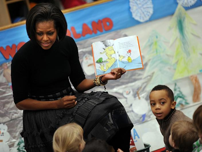 """First Lady Michelle Obama reads the Dr. Seuss book """"Green Eggs and Ham"""" to children"""