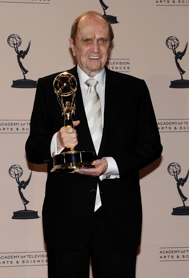 Bob Newhart poses in the press room at the 2013 Primetime Creative Arts Emmy Awards, on Sunday, September 15, 2013 at Nokia Theatre L.A. Live, in Los Angeles, Calif. (Photo by Scott Kirkland/Invision for Academy of Television Arts & Sciences/AP Images)