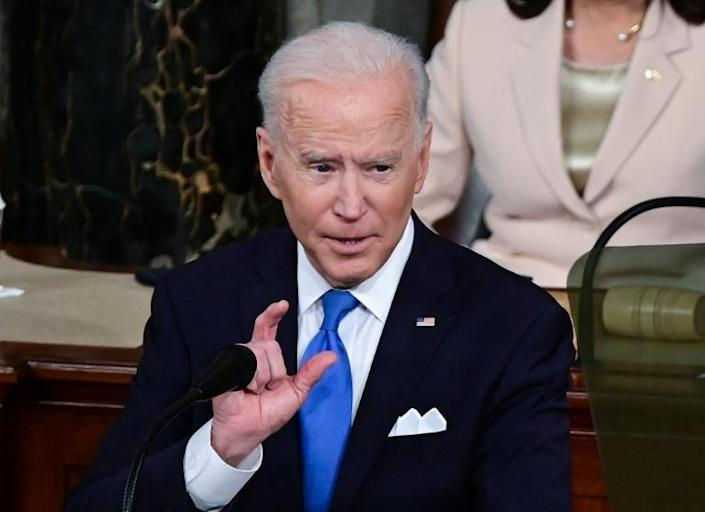 US President Joe Biden addresses a joint session of Congress