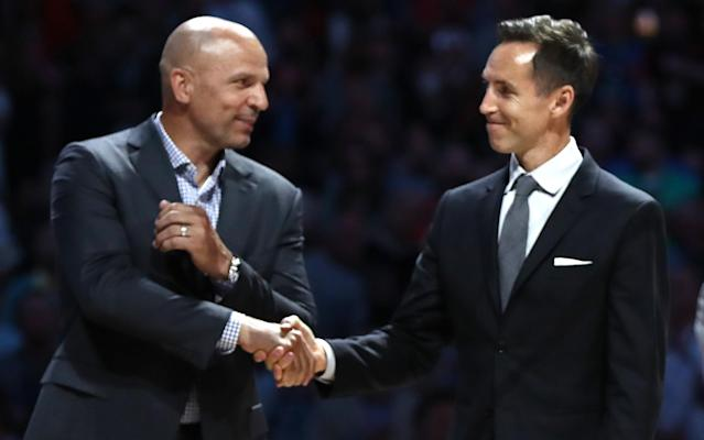 Jason Kidd and Steve Nash entered the Hall of Fame together in 2018. (Getty Images)