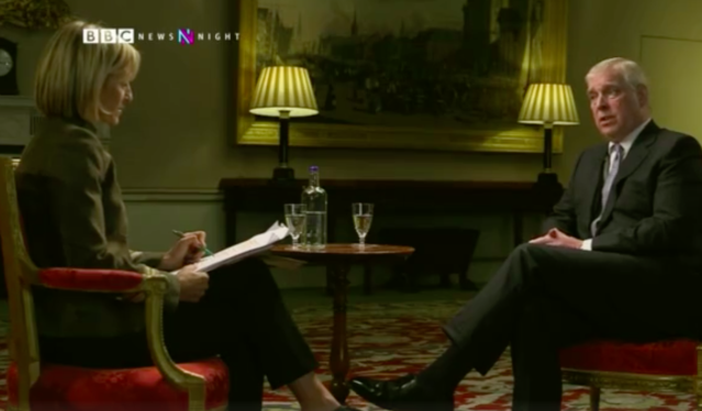 Newsnight presenter Emily Maitlis interviews Prince Andrew (Picture: BBC)