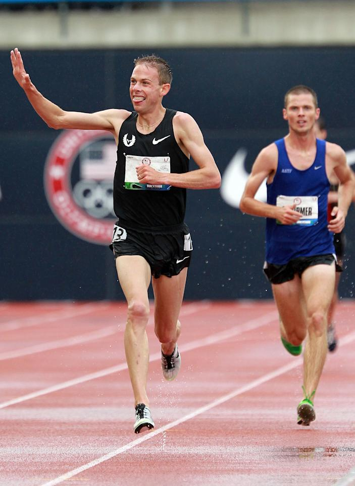 EUGENE, OR - JUNE 22:  Galen Rupp celebrates as he comes down the final stretch on his way to winning the men's 10,000 meter final during Day One of the 2012 U.S. Olympic Track & Field Team Trials at Hayward Field on June 22, 2012 in Eugene, Oregon.  (Photo by Andy Lyons/Getty Images)