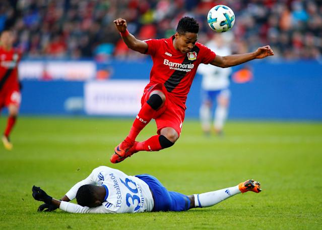 Soccer Football - Bundesliga - Bayer Leverkusen vs Schalke 04 - BayArena, Leverkusen, Germany - February 25, 2018 Bayer Leverkusen's Wendell in action with Schalke's Breel Embolo REUTERS/Thilo Schmuelgen DFL RULES TO LIMIT THE ONLINE USAGE DURING MATCH TIME TO 15 PICTURES PER GAME. IMAGE SEQUENCES TO SIMULATE VIDEO IS NOT ALLOWED AT ANY TIME. FOR FURTHER QUERIES PLEASE CONTACT DFL DIRECTLY AT + 49 69 650050