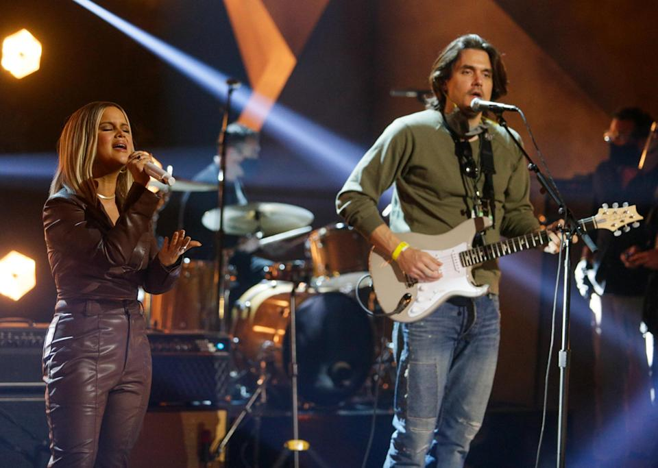 <p>Maren Morris and John Mayer rehearse for the upcoming Grammy Awards in L.A. on Thursday.</p>