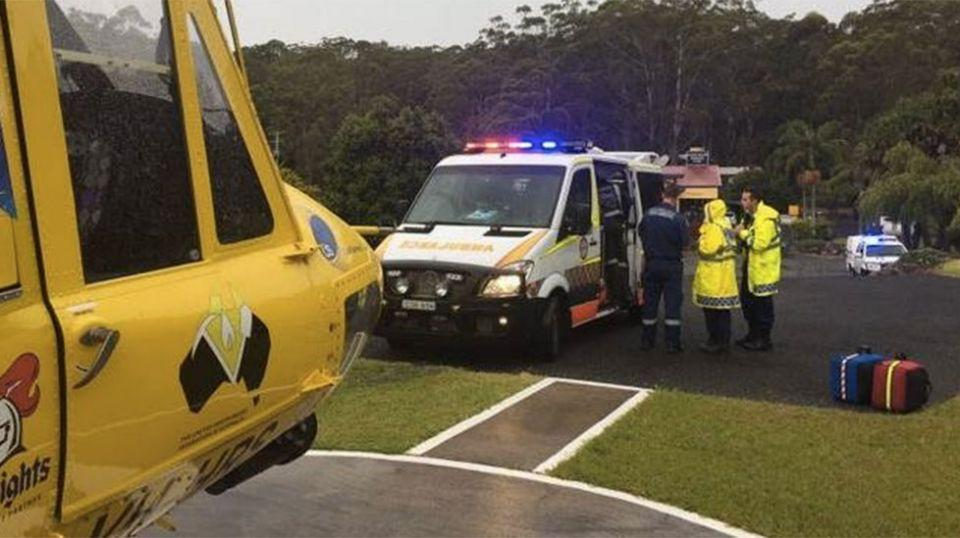 The surfer, in his 60s, suffered lacerations to his arm and foot and was treated by NSW paramedics. Photo: Twitter