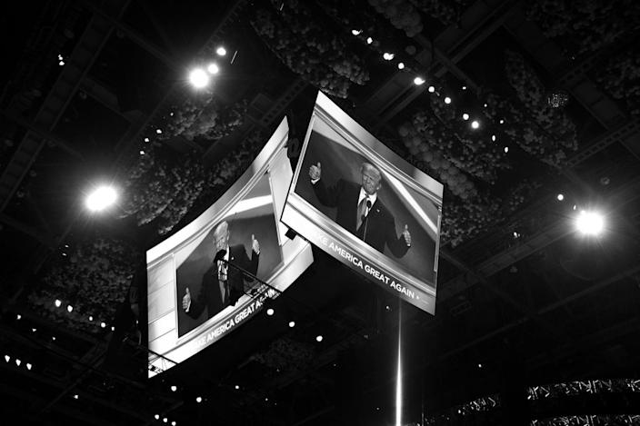 <p>Donald Trump speaks at the Republican National Convention on Monday. (Photo: Khue Bui for Yahoo News)</p>