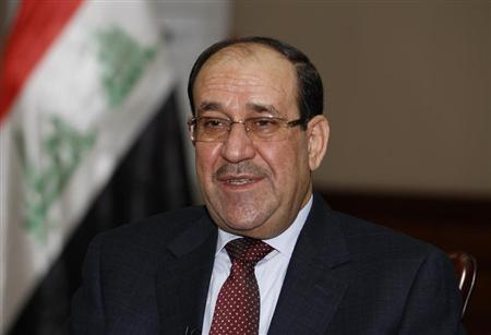 Iraq's Prime Minister al-Maliki speaks during an interview with Reuters in Baghdad
