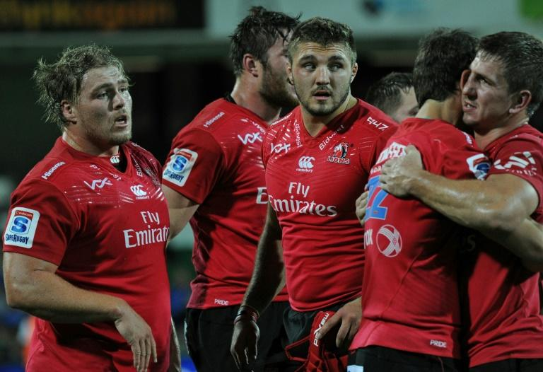 The Lions' players celebrate win following their Super Rugby against the Western Force, in Perth, on April 29, 2017