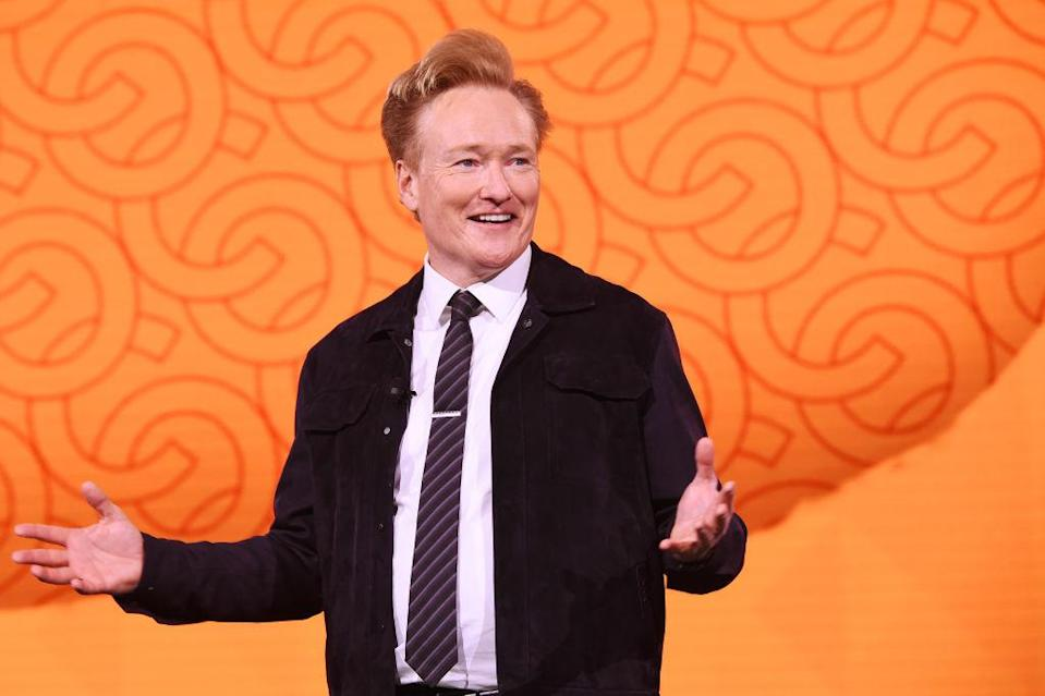NEW YORK, NEW YORK - MAY 15: Conan O'Brien of TBS's CONAN speaks onstage during the WarnerMedia Upfront 2019 show at The Theater at Madison Square Garden on May 15, 2019 in New York City. 602140 (Photo by Kevin Mazur/Getty Images for WarnerMedia)