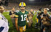 Green Bay Packers quarterback Aaron Rodgers (12) as he leaves the field following the game against the Seattle Seahawks at Lambeau Field. Packers won 27-17. Sep 20, 2015; Green Bay, WI, USA. Ray Carlin-USA TODAY Sports