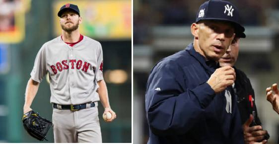 Chris Sale of the Red Sox and Yankees manager Joe Girardi wear the face of frustration during the ALDS. (Getty Images)