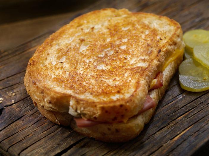 """<p>What's an Irish grilled cheese, you ask? It involves pickles, mustard, and aged cheddar, and it looks <em>delicious</em>. (Thinly sliced corned beef optional!)</p><p><em><strong>Get the recipe at <a href=""""https://www.thepioneerwoman.com/food-cooking/recipes/a11464/irish-grilled-cheese/"""" rel=""""nofollow noopener"""" target=""""_blank"""" data-ylk=""""slk:The Pioneer Woman."""" class=""""link rapid-noclick-resp"""">The Pioneer Woman.</a></strong></em></p>"""