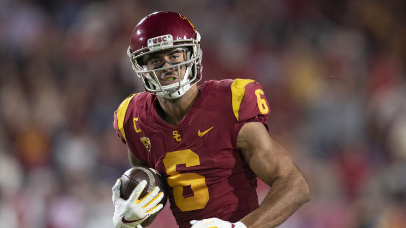 Southern California wide receiver Michael Pittman Jr. during an NCAA football game against Utah on Friday, Sept. 20, 2019 in Los Angeles. (AP Photo/Kyusung Gong)