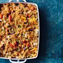 """<p>You can assemble this healthy chicken casserole before you leave for a party and pop it in the oven at the host's house. Or bake it at home and bring it along--it's delicious at room temperature too. <a href=""""http://www.eatingwell.com/recipe/258540/chicken-peppers-pasta-casserole/"""" rel=""""nofollow noopener"""" target=""""_blank"""" data-ylk=""""slk:View recipe"""" class=""""link rapid-noclick-resp""""> View recipe </a></p>"""