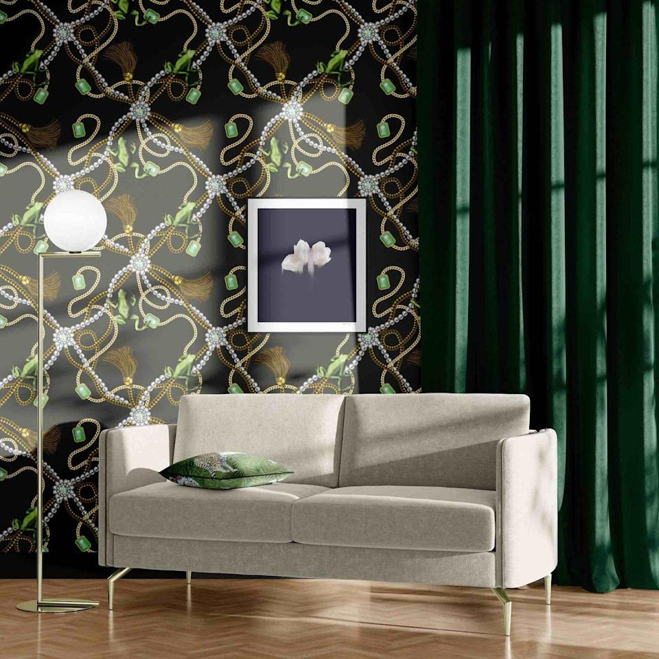 """<p>For the eccentrics amongst us, use this wallpaper on all four walls, but it would also be fabulous on a feature wall. With sweeping tangles of chains, pearls, jewels and frogs, it's like being inside a fairy tale.</p><p>Pictured: Tiana Antique, <a href=""""https://thecuriousdepartment.com/products/tiana-antique-wallpaper"""" rel=""""nofollow noopener"""" target=""""_blank"""" data-ylk=""""slk:The Curious Department"""" class=""""link rapid-noclick-resp"""">The Curious Department</a></p>"""